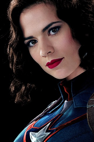 iPhone Wallpaper Captain America, girl, curls, face