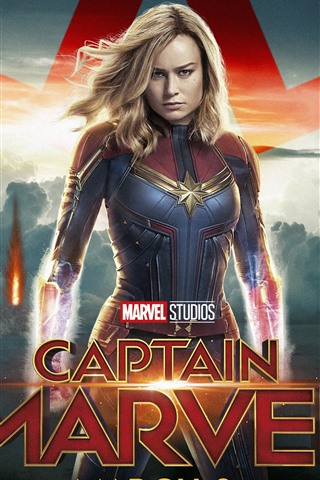 iPhone Wallpaper Captain Marvel, Brie Larson