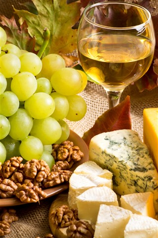 iPhone Wallpaper Cheese, grapes, nuts, wine