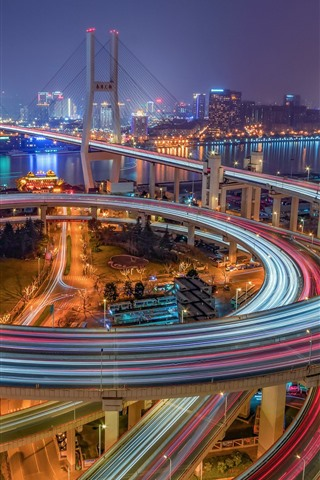 iPhone Wallpaper China, Shanghai, Nanpu Bridge, illumination, night, city, river