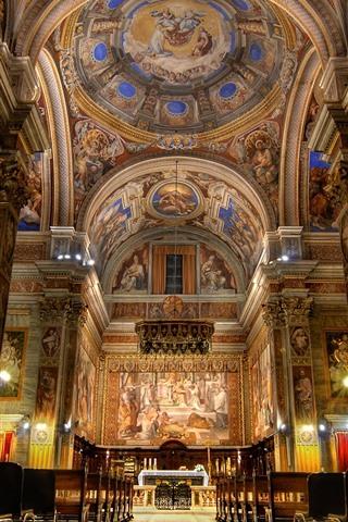 iPhone Wallpaper Church, Rome, Italy, hall
