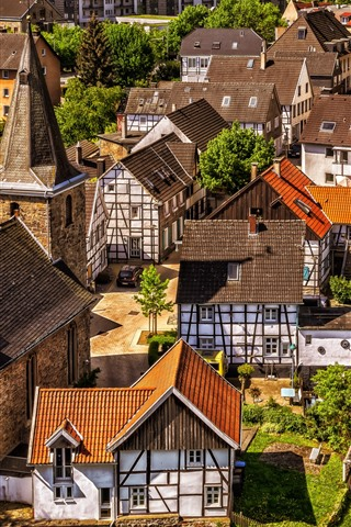 iPhone Wallpaper City, houses, street, roof
