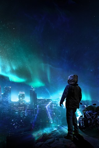 iPhone Wallpaper City night, skyscrapers, northern lights, stars, motorcycle, person, creative picture