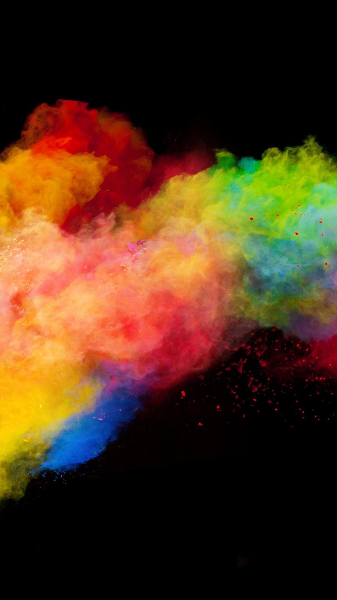 壁紙 カラフルな煙 虹色 黒の背景 3840x2160 Uhd 4k 無料の