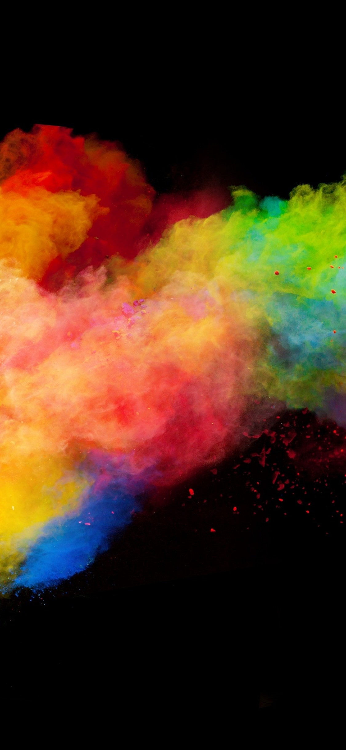 Colorful Smoke Rainbow Colors Black Background 1242x2688