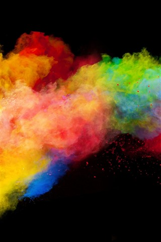 iPhone Wallpaper Colorful smoke, rainbow colors, black background