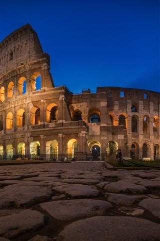 iPhone Wallpaper Colosseum, Rome, night, lights