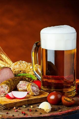 iPhone Wallpaper Cup, beer, meat, food
