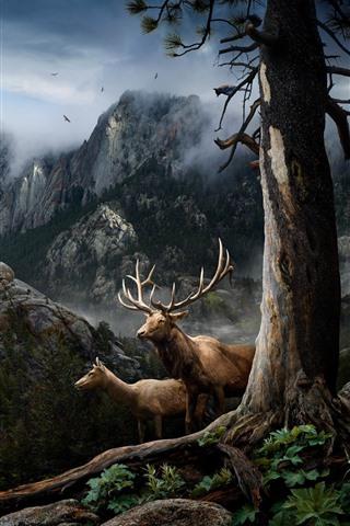 iPhone Wallpaper Deer, horns, mountains, trees, fog, birds