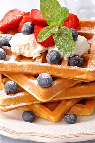 iPhone Wallpaper Delicious food, waffles, strawberry, blueberries