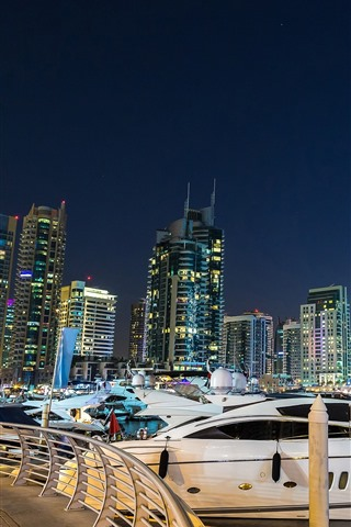 iPhone Wallpaper Dubai, yachts, skyscrapers, city, night