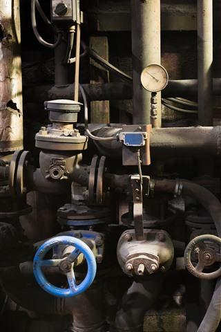 iPhone Wallpaper Factory, pipes, valve, dirt, rust