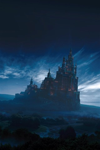 iPhone Wallpaper Fantasy world, castle, forest, sky, clouds, dusk