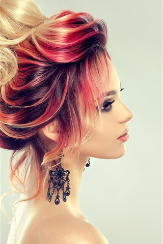 iPhone Wallpaper Fashion girl, hairstyle, colors