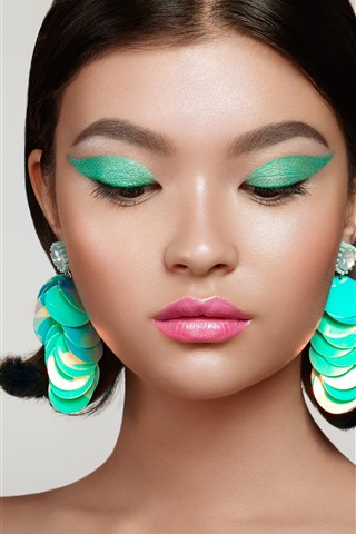 iPhone Wallpaper Fashion girl, makeup, earring, decoration, art photography