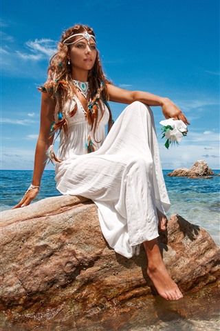 iPhone Wallpaper Fashion girl, white skirt, sea, rocks, summer