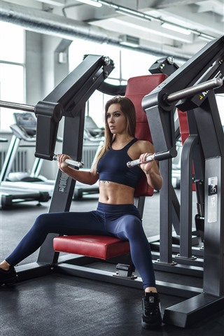 iPhone Wallpaper Fitness girl, tattoo, hall, sport