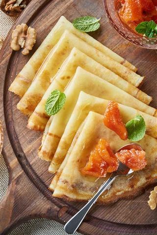 iPhone Wallpaper Food, pancakes, dessert, breakfast