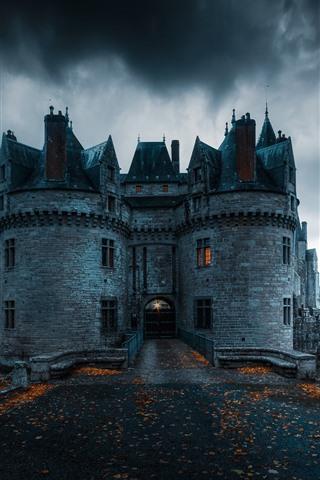 iPhone Wallpaper France, Missillac, castle, clouds, dusk, lake