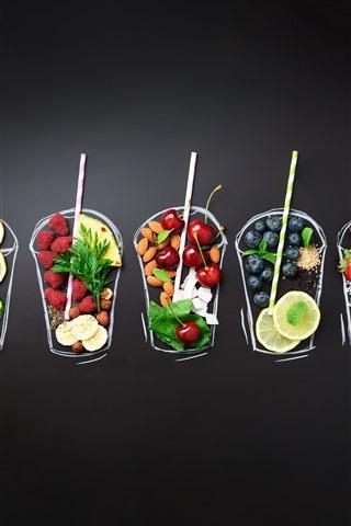 iPhone Wallpaper Fruit, berries, drinks, creative picture