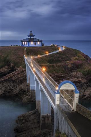 iPhone Wallpaper Galicia, sea, lighthouse, bridge