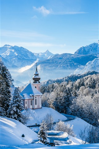 iPhone Wallpaper Germany, Bayern, church, trees, mountains, snow, winter