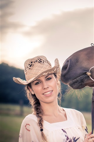 iPhone Wallpaper Girl and horse, hat, summer