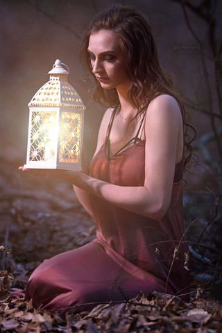 iPhone Wallpaper Girl, lantern, forest, red skirt