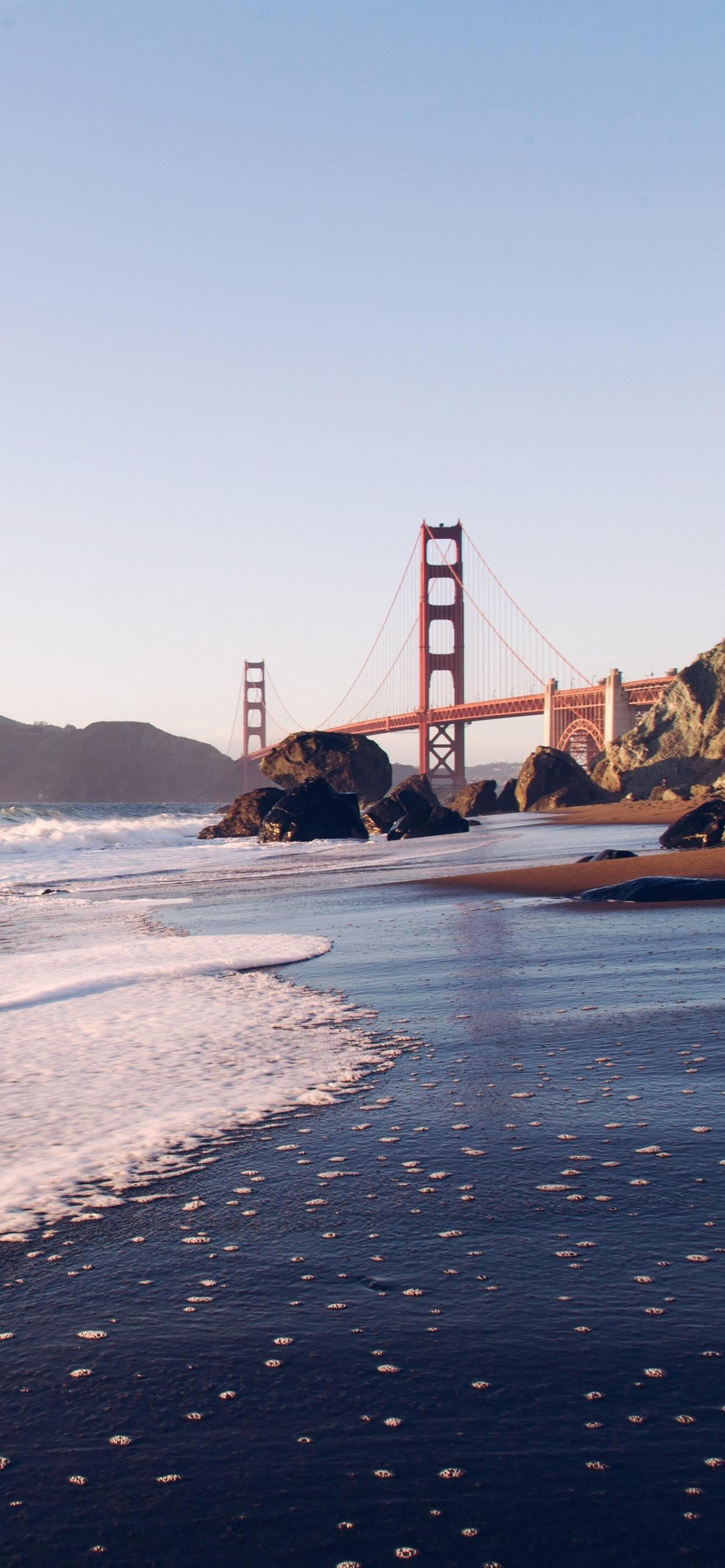 Golden Gate Bridge Sea Waves Coast San Francisco Usa
