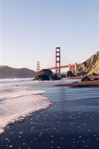 iPhone Wallpaper Golden Gate Bridge, sea, waves, coast, San Francisco, USA