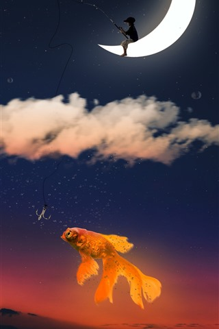 iPhone Wallpaper Goldfish, sky, moon, clouds, fishing, creative picture