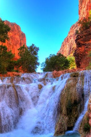 iPhone Wallpaper Grand Canyon National Park, rocks, waterfall, USA