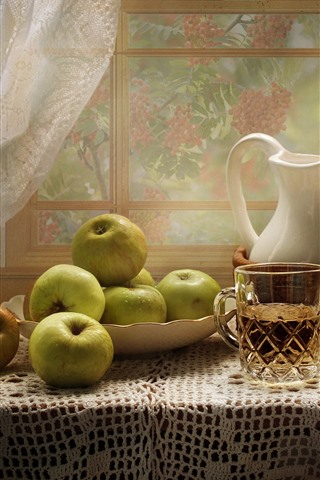 iPhone Wallpaper Green apples, cup, kettle, window, table