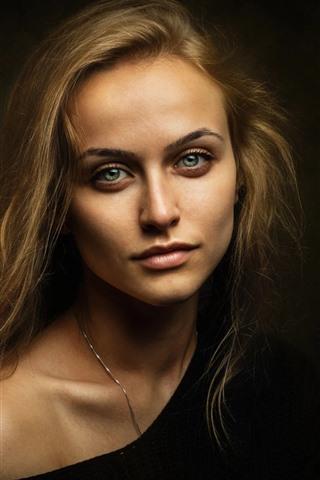 iPhone Wallpaper Green eyes blonde girl, darkness
