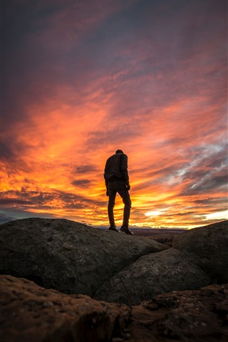 iPhone Wallpaper Guy, silhouette, clouds, sunset