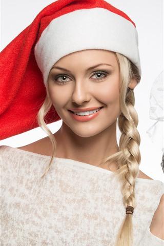 iPhone Wallpaper Happy blonde girl, braid, Christmas hat