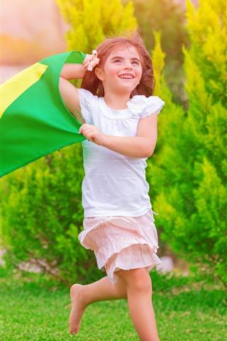 iPhone Wallpaper Happy little girl, running, grass, flag