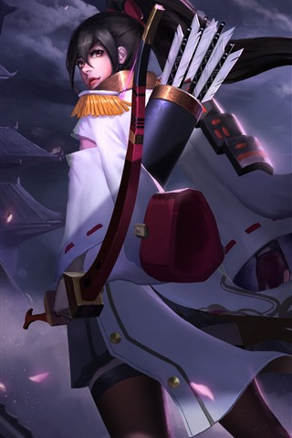 iPhone Wallpaper Heroes of Newerth, archer, girl, night