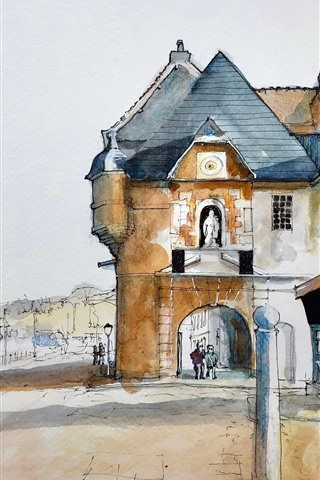 iPhone Wallpaper Honfleur, Lower Normandy, France, watercolor painting, city, houses, street