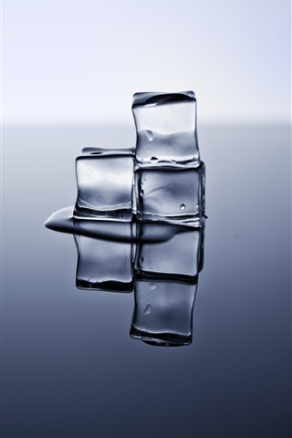 iPhone Wallpaper Ice cubes, reflection