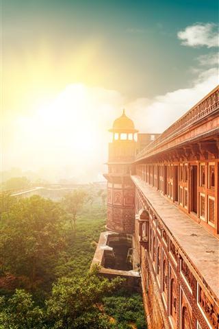 iPhone Wallpaper India, temple, buildings, sun rays
