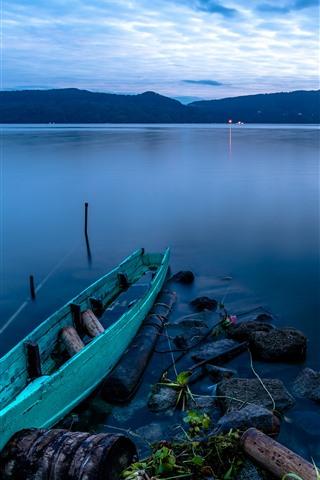 iPhone Wallpaper Indonesia, Sumatra, Lake Toba, boat, dusk