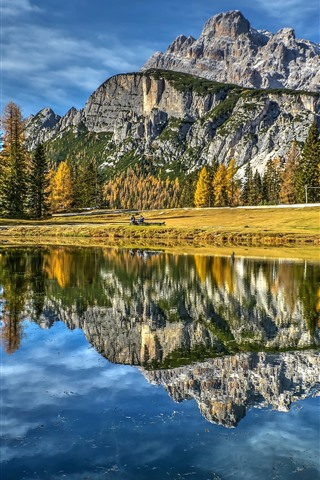 iPhone Wallpaper Italy, Dolomites, lake, mountains, trees, autumn