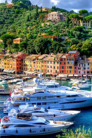 iPhone Wallpaper Italy, Portofino, harbour, city, yachts, trees