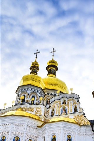 iPhone Wallpaper Kiev Pechersk Lavra, Ukraine, dome, sky, clouds