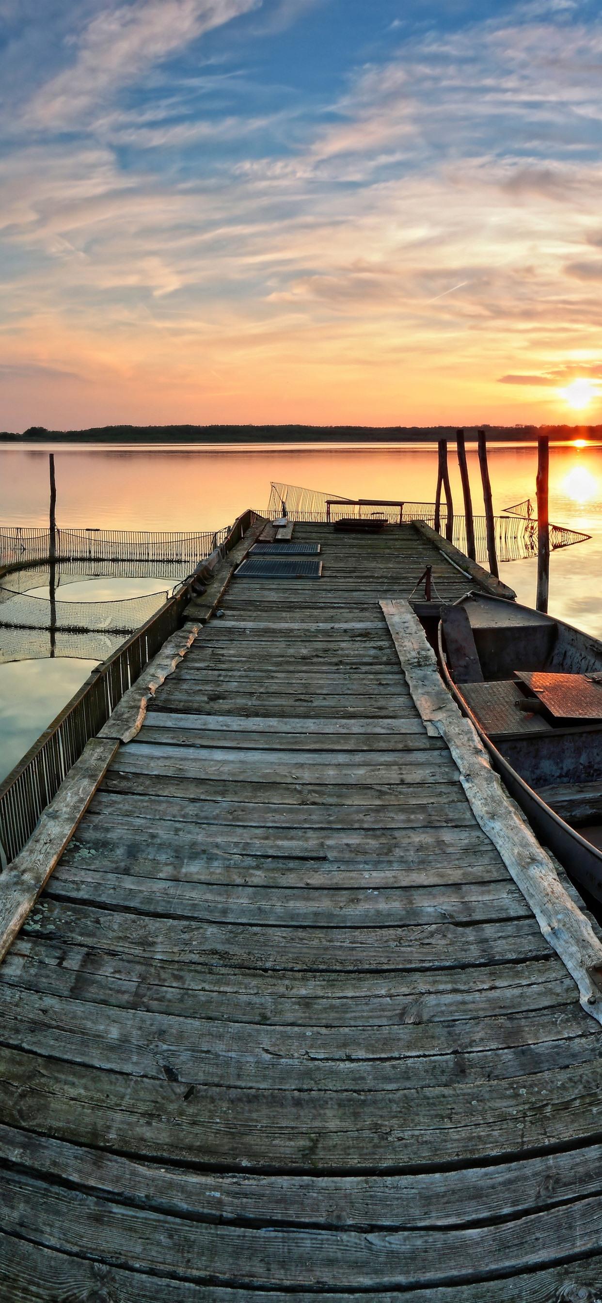 Lake Boat Pier Sunset 1242x2688 Iphone Xs Max Wallpaper