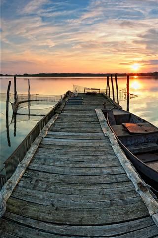 iPhone Wallpaper Lake, boat, pier, sunset