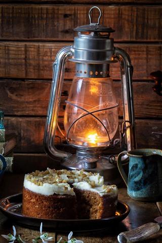 iPhone Wallpaper Lamp, cake, window, daffodils, coffee, still life