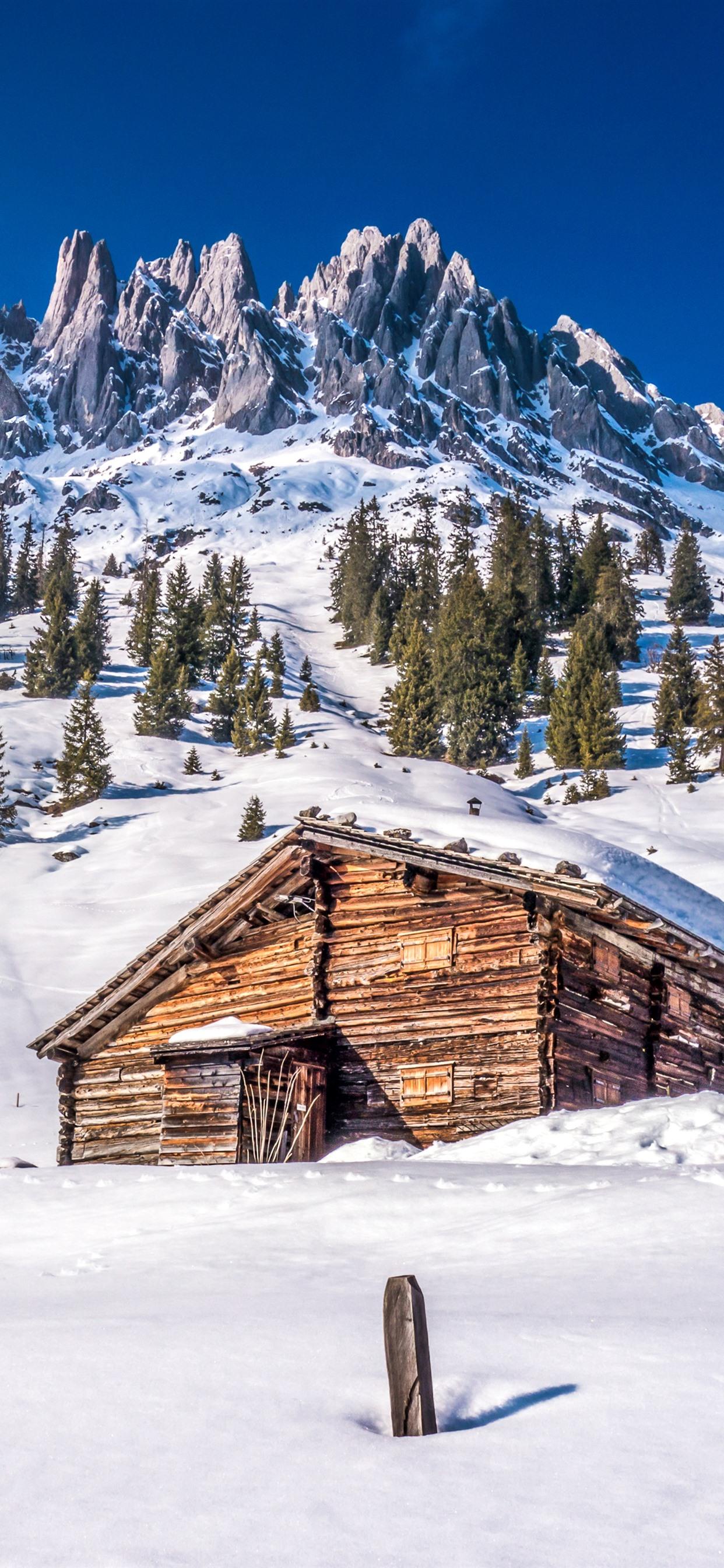 ラッセン火山国立公園 雪 山 木 家 冬 アメリカ 1242x2688