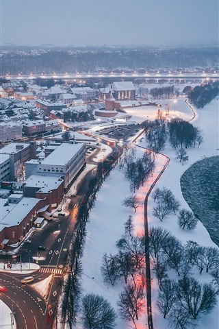 iPhone Wallpaper Lithuania, Kaunas, winter, snow, river, dusk, city top view